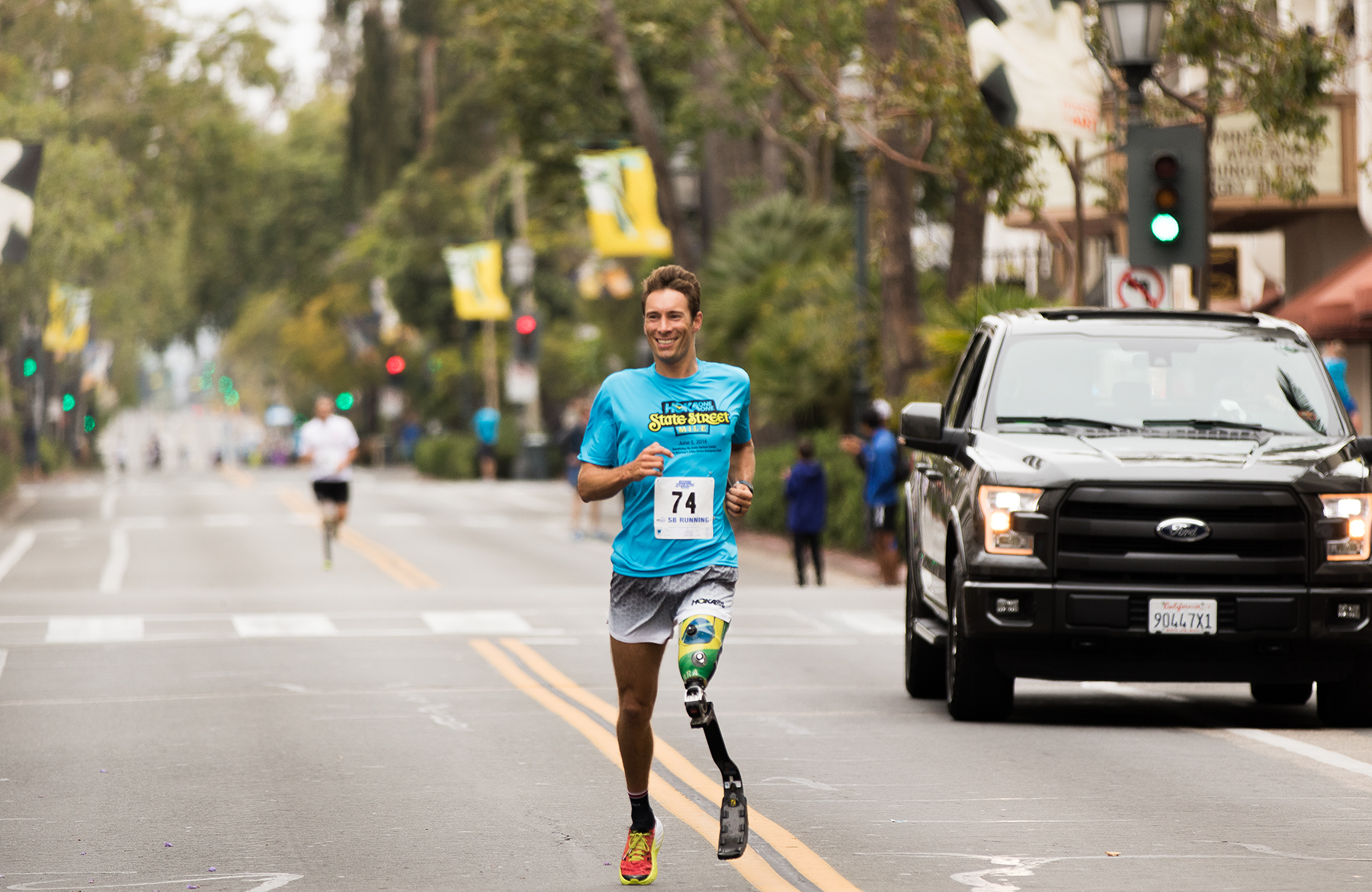 Andre Barbieri, 35, of Santa Barbara, finished second in the Amputee Athletes men's division with a time of 6:33.
