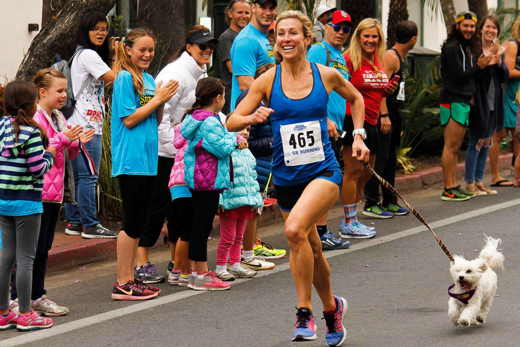 Drea Schettler, 38, of Santa Barbara, and her dog finished eighth overall in the Dog Mile with a time of 5:31.