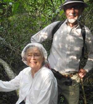 Olga and Jim Hazard on the trail in Tikal. (Anabel Ford photo)