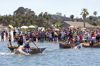 Contestants paddle against each other — as well as the speed of their cardboard kayaks' water-induced deterioration — at a previous Kardboard Kayak Race. The Santa Barbara Maritime Museum will host the next race July 9.