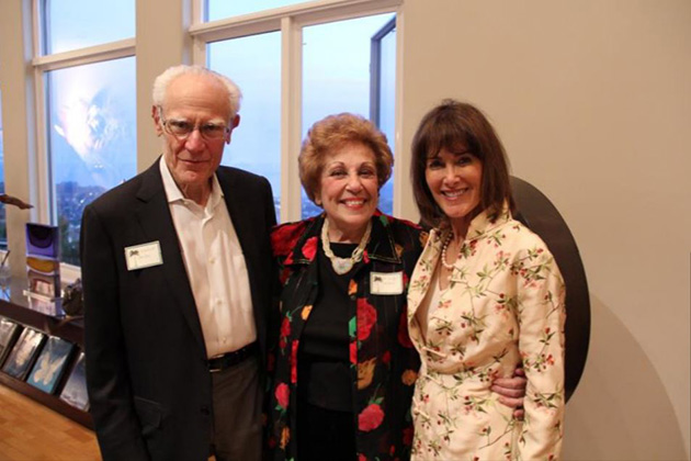"""Spirit of Successful Aging"" award recipient, Marilyn Gilbert (center), flanked by Michael and Anne Towbes during a recent event announcing this year's award recipient."