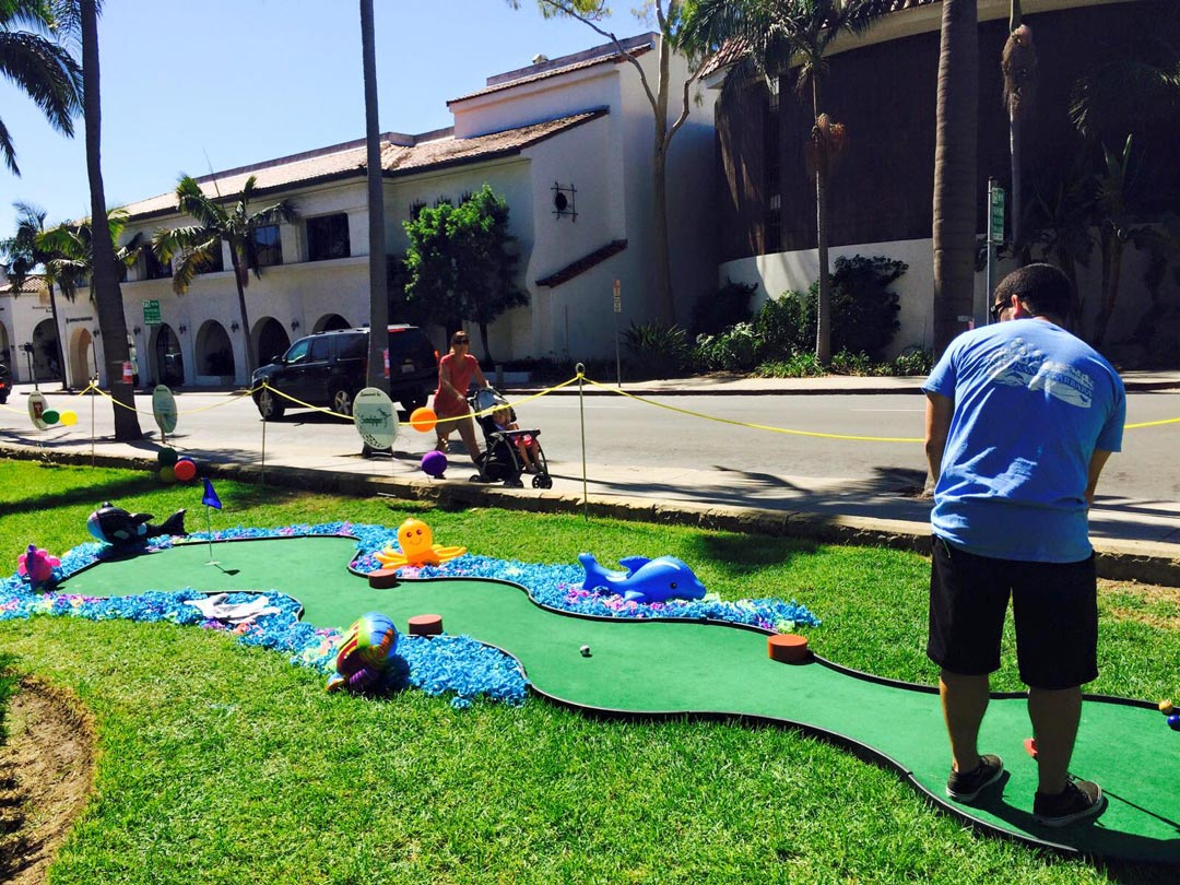 Among the fundraising events organized by Rotaract of Santa Barbara is an annual miniature golf tournament at the Santa Barbara County Courthouse to benefit the Courthouse Legacy Foundation.
