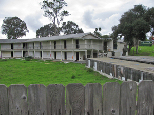 These dilapidated two-story structures, once part of the Miramar Hotel in Montecito, are being torn down to make way for a new hotel. (Giana Magnoli / Noozhawk photo)