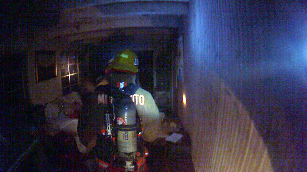 <p>A helmet-mounted camera captures the scene as a Montecito firefighter checks out the inside of an apartment that burned Monday night on Barker Pass Road.</p>