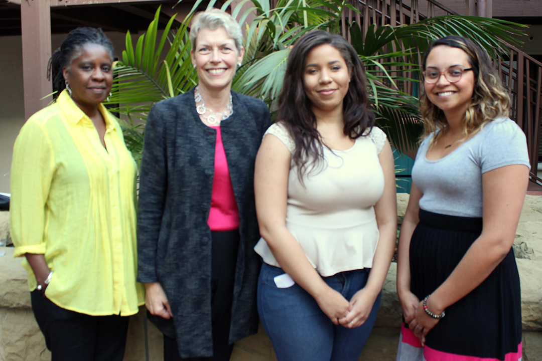 Tonie Hood, Housing Management Supervisor at the Housing Authority of the City of Santa Barbara; Lynn Karlson, Executive Director at Youth and Family Services YMCA; Autumn Sanders, My Home resident; and Avanti Alias, My Home resident.