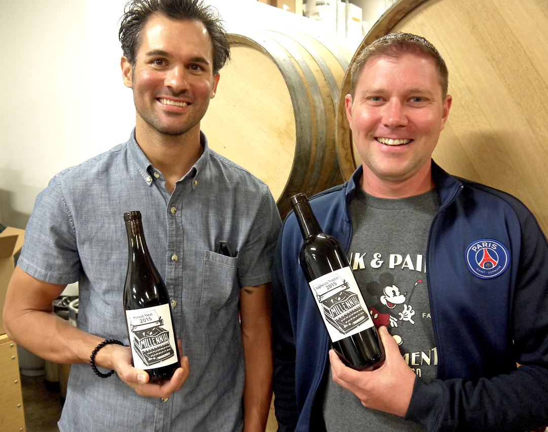 Daniel Soboski, left, and Cody Welch are co-owners and winemakers for their small label, Millennial Wines, based in Lompoc.
