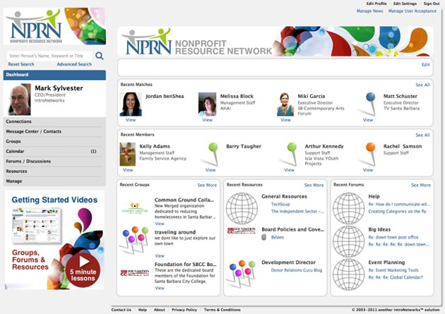 A screen grab of the Nonprofit Resource Network website shows a dashboard of connections among nonprofit community users.