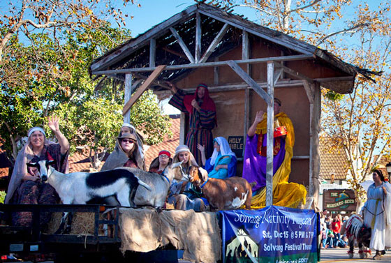 Santa Ynez Valley churches joined congregations to win the 2012 Solvang Julefest Parade's Best Float for the community's 26th Annual Community Nativity Pageant. (Solvang Conference & Visitors Bureau photo)
