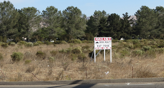 This vacant parcel at the north end of Santa Maria is one of two the Santa Maria Joint Union High School District is considering buying for a new high school with an emphasis on technical careers. (Gina Potthoff / Noozhawk photo)
