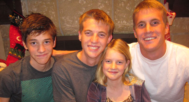 <p>Family was very important to UCSB water polo player Nicholas Johnson, right, who died Monday while swimming laps at the Santa Barbara High School pool. He&#8217;s seen here with his brothers, Cooper and Sam, and his sister, Sophie, who are devastated by his passing.</p>