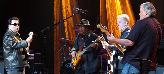 <p>Billy Cox and Brad Whitford, center left and right, are joined by Cesar Rosas and David Hildalgo from Los Lobos during the Experience Hendrix concert Thursday night at the Arlington Theatre.</p>