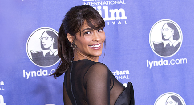 Actress Paula Patton poses for photographers Thursday on the opening night of the Santa Barbara International Film Festival. Patton is among the stars of Disconnect, the opening night's premier film. (Garrett Geyer / Noozhawk photo)