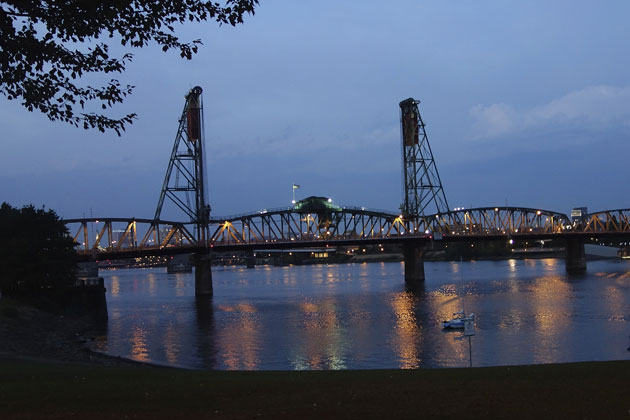 The Hawthorne Bridge spanning the Willamette River, one of Portland's many beautiful sights.
