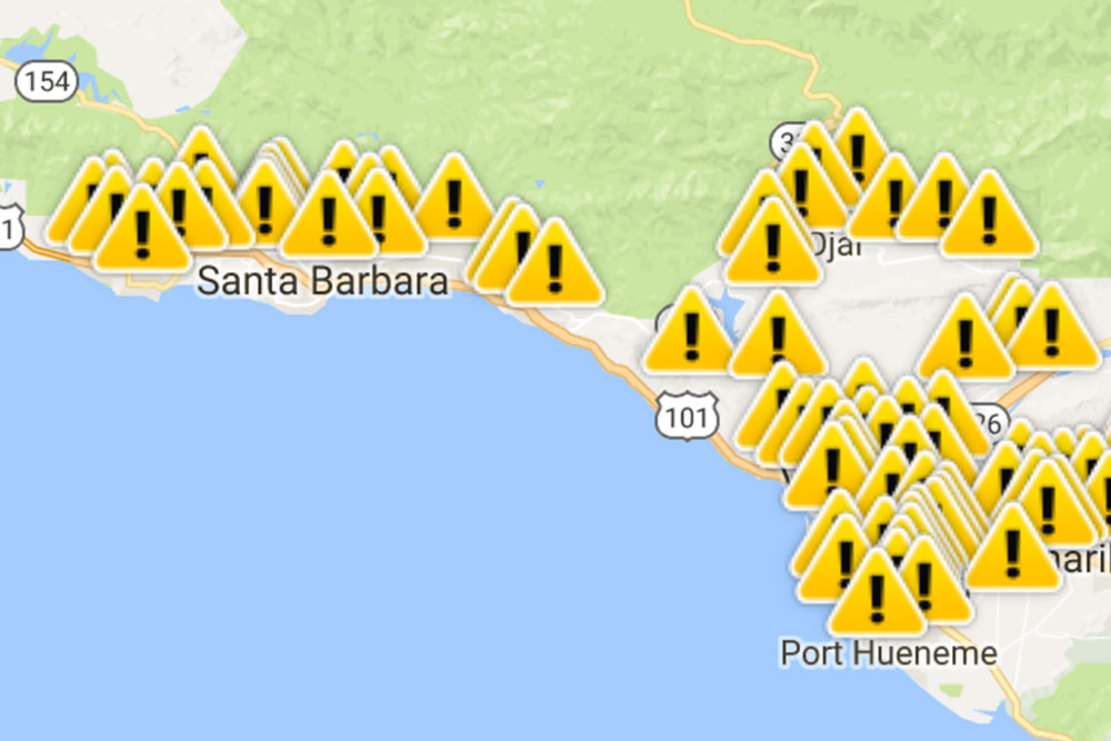 Southern California Edison outage map shows widespread impacts.