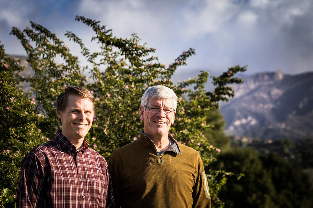 With Cathedral Peak in the background, Santa Barbara Community Church Pastors Benji Bruneel, left, and Reed Jolley enjoy a brief break in this week's stormy weather.