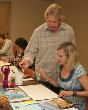 Works by local artist Rick Stich, with an art class participant, will be part of the Cancer Center of Santa Barbara's