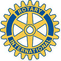 The Rotary emblem has evolved from a simple wagon wheel design to today's gear wheel
