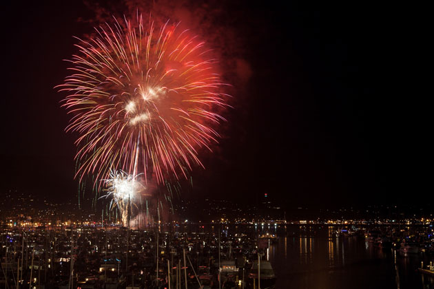 Fireworks light up the sky above the Santa Barbara Harbor. The will be aerial displays and much more on Monday as Santa Barbara County celebrates Independence Day.