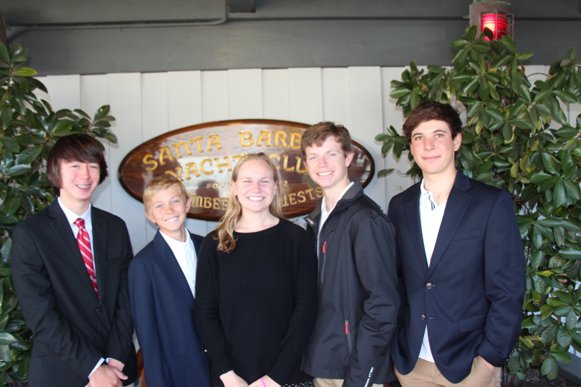 Members of the Santa Barbara Youth Sailing Foundation attended the ceremony including Ryan Eastwood, secretary, Oliver Stokke, Lauren Siegel, vice commodore, Lucas Pierce, commodore and Caden Scheiblauer, laser fleet captain.