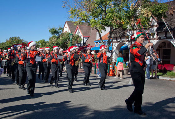 The Santa Ynez Valley Union High School Marching Band earned Best Musical Entry. (Solvang Conference & Visitors Bureau photo)