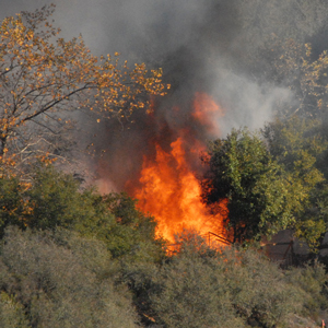 Flames soar from a small structure — a yurt and deck — in a narrow canyon below Old San Marcos Road on Friday. The structure was destroyed and surrounding vegetation also burned. (Ryan Cullom photo)