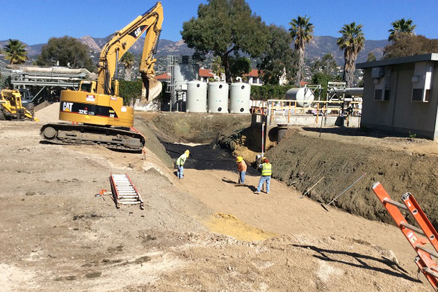 Crews work on trenching for an electrical conduit at the Santa Barbara Desalination Facility.
