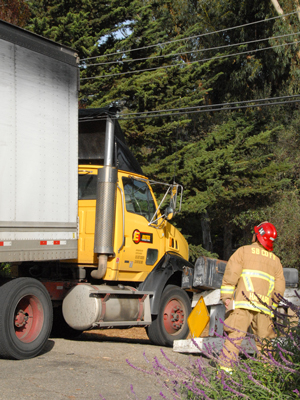 A semi truck snagged some utility lines Wednesday afternoon in North Goleta, knocking out power to nearby customers. No injuries were reported. (Ryan Cullom photo)