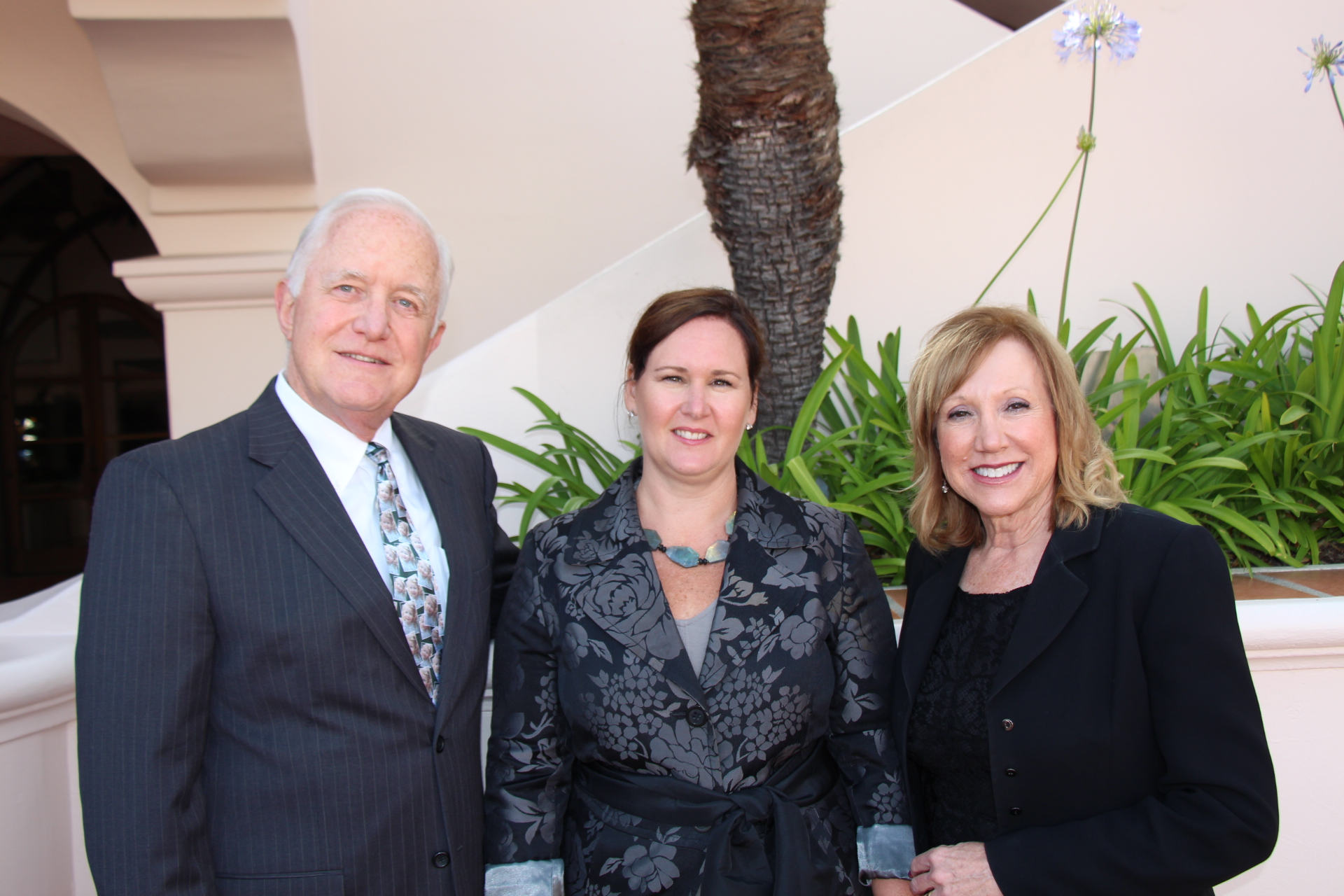 Candace Winkler, Scholarship Foundation of Santa Barbara president and CEO, center, with steering committee co-chairs Steve Amerikaner, left, and Susan Rodriguez.