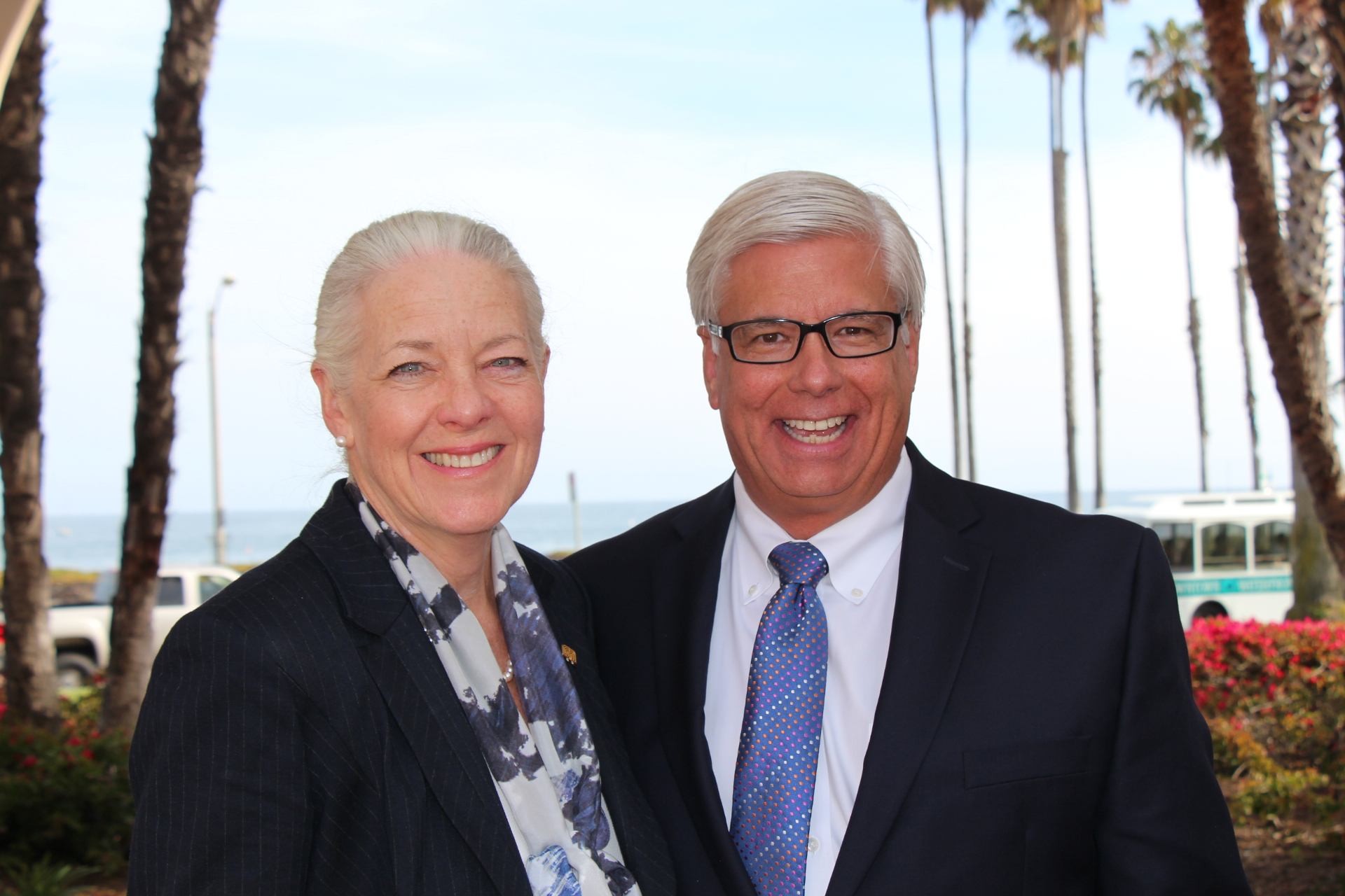Director Level sponsor Montecito Bank and Trust's Janet Garufis, president and CEO, with Founding sponsor Union Bank's George Leis, executive vice president, regional president private bank division.