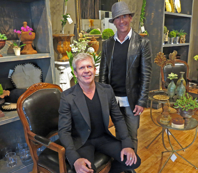 Super Chic owners Terry Calhoun, left, and Brian Callahan opened the shop near Paseo Nuevo earlier this month after a recent move from San Francisco. (Gina Potthoff / Noozhawk photo)