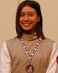 Sophie Russo earned a bronze medal in a recent youth fencing tournament in San Jose.