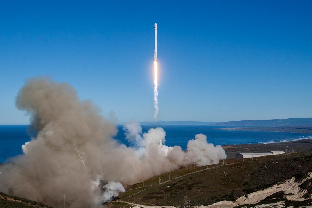 A Falcon 9 rocket blasts off from Space Launch Complex-4 at Vandenberg Air Force Base on Jan. 14.