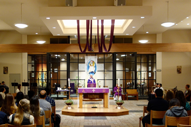 The regular Sunday schedule at St. Mark's University Parish on Picasso Road in Isla Vista includes a 7 p.m. Mass for college students.