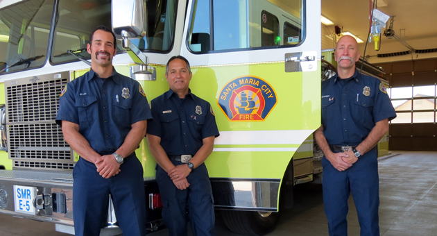 <p>Santa Maria firefighters, from left, Matt Luis and Victor Gutierrez, and Capt. Mike Farmer made up the first three-person team working Monday at Fire Station No. 5 on its inaugural day of 24/7 operations.</p>