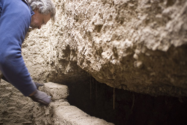 Professor Stuart Tyson Smith opens an intact Nubian tomb with the coffined, mummified body of an elderly woman inside.