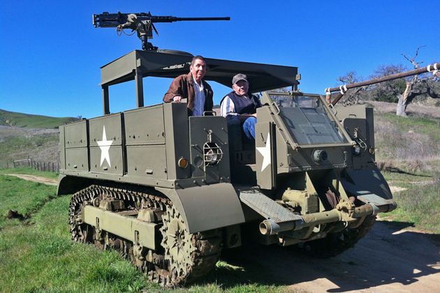Martin Johnson and Dick Agin are partners in an M5 A4 high-speed tractor that was used during World War II to carry equipment, personnel and supplies. (Raiza Giorgi / Noozhawk photo)