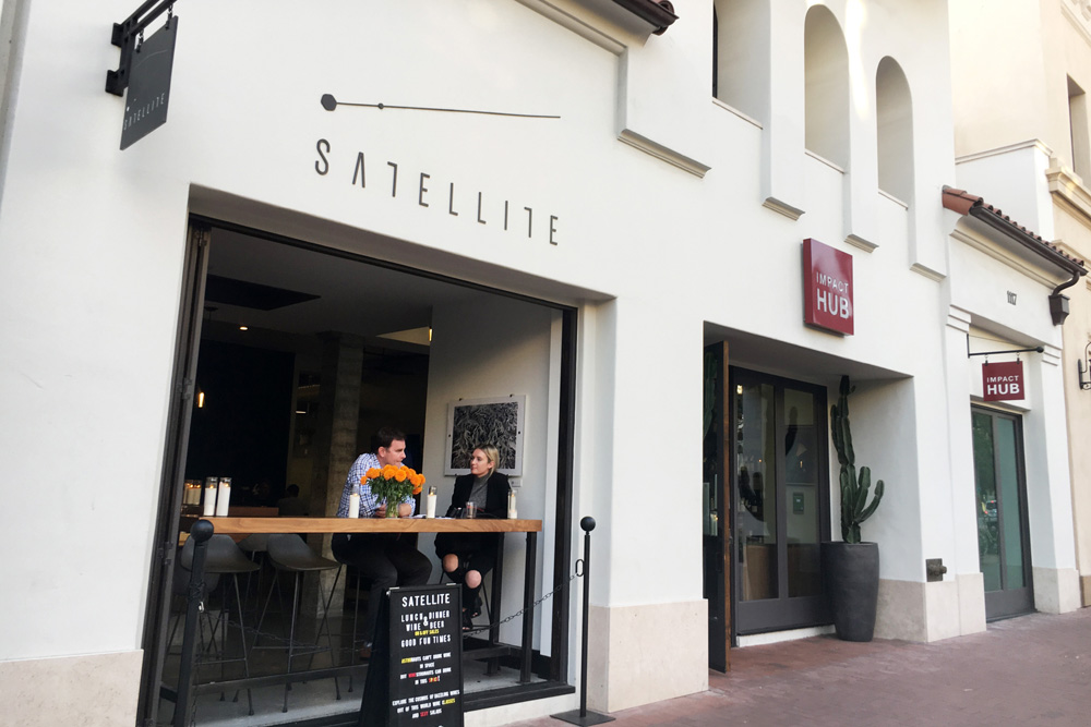 The entrance to the Satellite wine bar at 1117 State St. opens to the heart of downtown Santa Barbara.