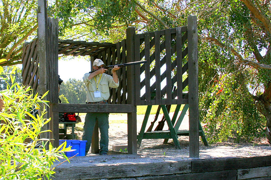 Harry Morse practices his shooting skills at the Birds Landing Hunting Preserve and Sporting Clays Course near Fairfield.