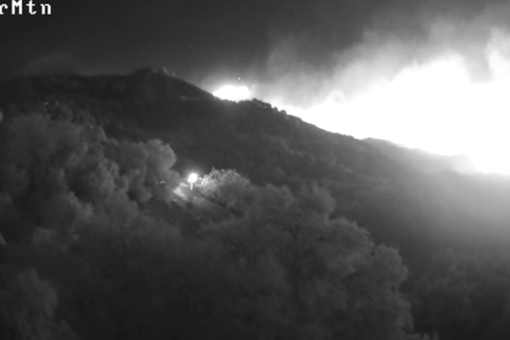 One of the first images, taken by remote equipment, of the Thomas Fire on the night of Dec. 4, 2017. Investigators would later inquire about the image and video of the event to aid in their work.