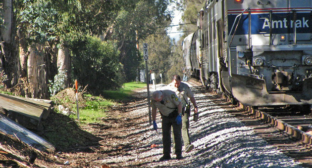 A woman who apparently was walking a dog was struck and killed by an Amtrak passenger train Wednesday near the Santa Barbara Cemetery. (Giana Magnoli / Noozhawk photo)