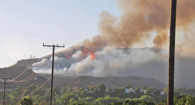 A fire burning near Camarillo in Ventura County has charred more than 6,500 acres and forced evacuations of homes and Cal State Channel Islands. (John Palminteri / KEYT photo)