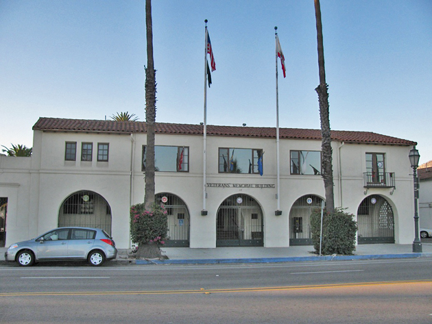 The Santa Barbara County Veterans' Services Advisory Committee has requested that the Veterans Memorial Building at 112 W. Cabrillo Blvd. in Santa Barbara be designated as a historic building. (Giana Magnoli / Noozhawk photo)