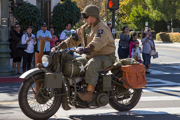 A military-issue motorcycle is a key component of the motor pool. (Garrett Geyer / Noozhawk photo)