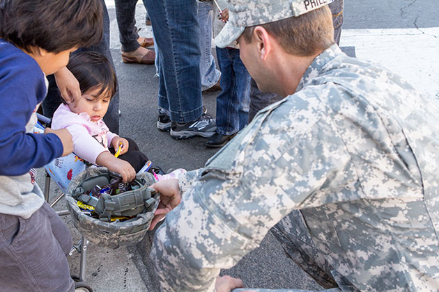Sunday's military outreach included helmet candy. (Garrett Geyer / Noozhawk photo)