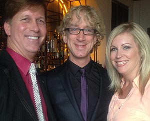 Bar stopping at the Four Seasons Resort The Biltmore before 'The Bachelor' wedding were, from left, Warren Butler, Andy Dick and Amy Sim. (Shelby Sim photo)