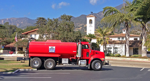 What's the latest high-end service provider in Montecito? Water delivery trucks. (Urban Hikers photo)