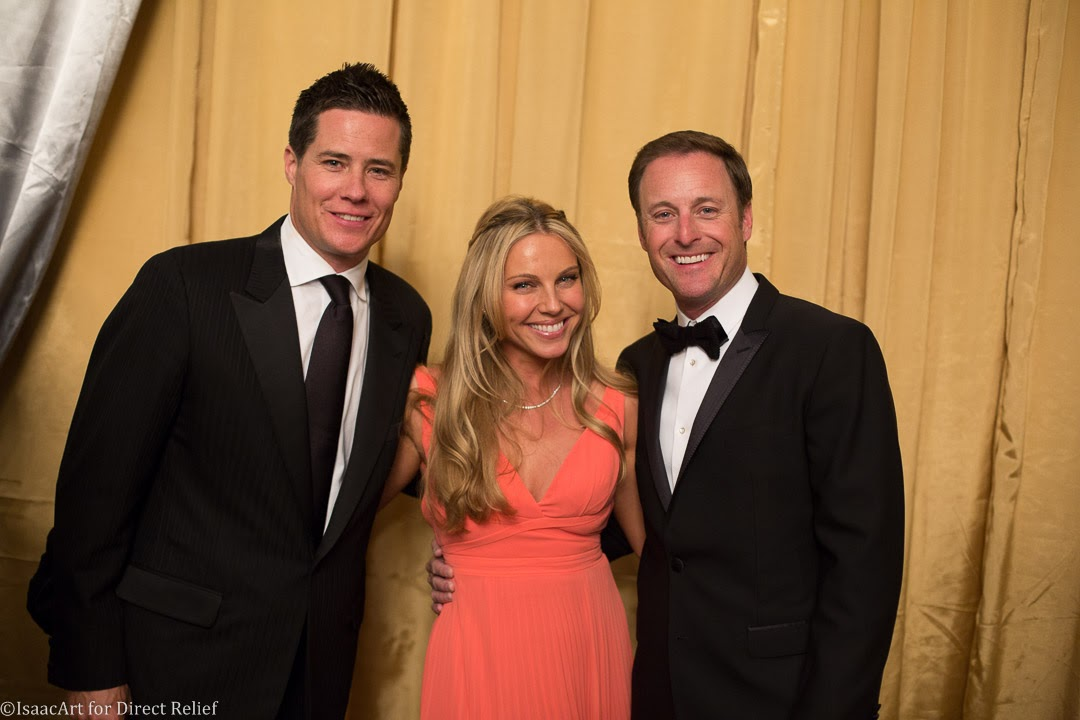 Andrew Firestone, left, and wife Ivana with emcee Chris Harrison, host of <em>The Bachelor</em>.