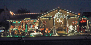 The Melena family's Santa Maria home has been entered for several years in the annual Lights, Sights, and Holiday Nights decorating contest, their displays taking home prizes for most inspirational, most nostalgic and for showing the spirit of Santa Maria. (Contributed photo)