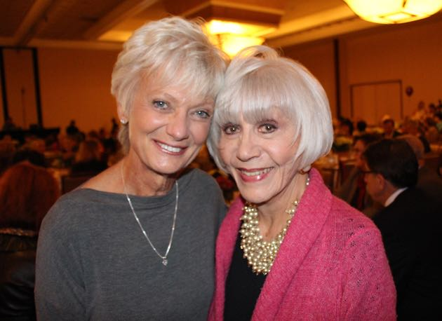 Debby Davison, left, with table sponsor Rona Barrett, a journalist, author, senior activist and Noozhawk columnist.