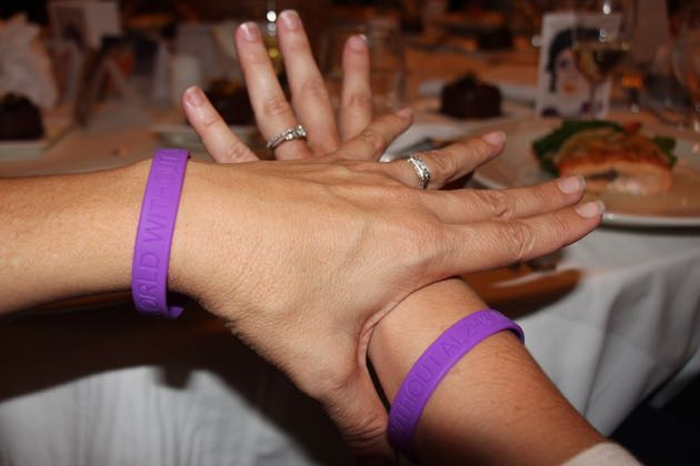 Guests sported purple wristbands to raise awareness about Alzheimer's disease.